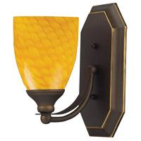 ELK 570-1B-CN Vanity 1 Light 5 inch Aged Bronze Bath Bar Wall Light in Standard Canary Glass