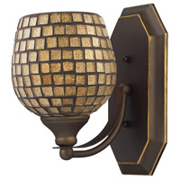 ELK 570-1B-GLD Vanity 1 Light 5 inch Aged Bronze Bath Bar Wall Light in Standard Gold Leaf Mosaic Glass