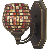 ELK 570-1B-MLT Vanity 1 Light 5 inch Aged Bronze Bath Bar Wall Light in Standard Multi Mosaic Glass