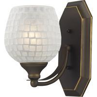 ELK 570-1B-WHT Vanity 1 Light 5 inch Aged Bronze Bath Bar Wall Light in Standard White Mosaic Glass