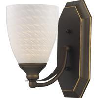 ELK 570-1B-WS Vanity 1 Light 5 inch Aged Bronze Bath Bar Wall Light in Standard White Swirl Glass