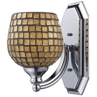 Vanity 1 Light 5 inch Satin Nickel Bath Bar Wall Light in Standard, Gold Leaf Mosaic Glass