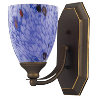 Vanity 1 Light 5 inch Aged Bronze Bath Bar Wall Light in Standard, Starburst Blue Glass