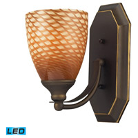 Vanity LED 5 inch Aged Bronze Bath Bar Wall Light in Cocoa Glass, 1