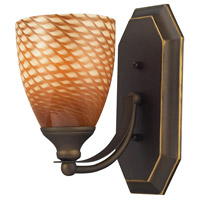 Vanity 1 Light 5 inch Aged Bronze Bath Bar Wall Light in Standard, Cocoa Glass