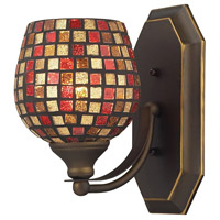 Vanity 1 Light 5 inch Aged Bronze Bath Bar Wall Light in Standard, Multi Mosaic Glass