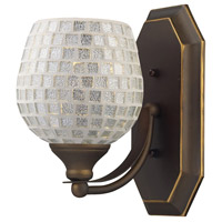 Vanity 1 Light 5 inch Aged Bronze Bath Bar Wall Light in Standard, Silver Mosaic Glass