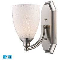 Vanity LED 5 inch Satin Nickel Bath Bar Wall Light in Snow White Glass, 1