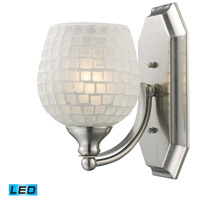 ELK 570-1N-WHT-LED Bath and Spa LED 8 inch Satin Nickel Vanity Light Wall Light in White Mosaic Glass, 1