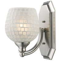 ELK 570-1N-WHT Bath and Spa 1 Light 8 inch Satin Nickel Vanity Light Wall Light in White Mosaic Glass, Incandescent