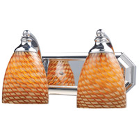 ELK 570-2C-C Vanity 2 Light 14 inch Polished Chrome Bath Bar Wall Light in Standard, Cocoa Glass photo thumbnail