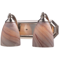 ELK 570-2N-CR Vanity 2 Light 14 inch Satin Nickel Bath Bar Wall Light in Standard, Creme Glass photo thumbnail
