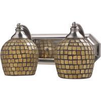 ELK 570-2N-GLD Vanity 2 Light 14 inch Satin Nickel Bath Bar Wall Light in Standard Gold Leaf Mosaic Glass