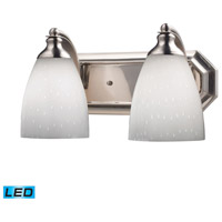 ELK Lighting Vanity 2 Light Bath Bar in Satin Nickel 570-2N-WH-LED