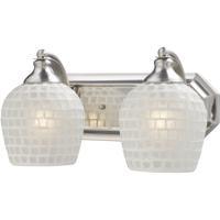 ELK 570-2N-WHT Vanity 2 Light 14 inch Satin Nickel Bath Bar Wall Light in Standard White Mosaic Glass