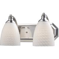 ELK 570-2N-WS Vanity 2 Light 14 inch Satin Nickel Bath Bar Wall Light in Standard White Swirl Glass