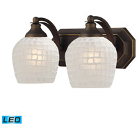 ELK 570-2B-WHT-LED Mix and Match LED 14 inch Aged Bronze Vanity Light Wall Light in White Mosaic Glass, 2 photo thumbnail