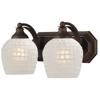Vanity 2 Light 14 inch Aged Bronze Bath Bar Wall Light in Standard, White Mosaic Glass