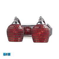 Vanity LED 14 inch Polished Chrome Bath Bar Wall Light in Copper Mosaic Glass, 2