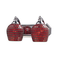 ELK 570-2C-CPR Vanity 2 Light 14 inch Polished Chrome Bath Bar Wall Light in Standard, Copper Mosaic Glass photo thumbnail