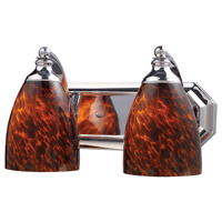 ELK 570-2C-ES Vanity 2 Light 14 inch Polished Chrome Bath Bar Wall Light in Standard, Espresso Glass photo thumbnail