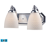 Vanity LED 14 inch Polished Chrome Bath Bar Wall Light in White Swirl Glass, 2