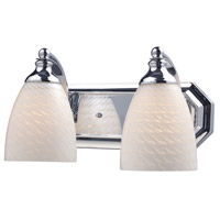 Vanity 2 Light 14 inch Polished Chrome Bath Bar Wall Light in Standard, White Swirl Glass