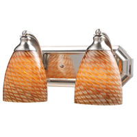 ELK 570-2N-C Mix and Match 2 Light 14 inch Satin Nickel Vanity Light Wall Light in Cocoa Incandescent
