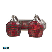 Vanity LED 14 inch Satin Nickel Bath Bar Wall Light in Copper Mosaic Glass, 2
