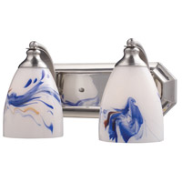 ELK 570-2N-MT Bath and Spa 2 Light 14 inch Satin Nickel Vanity Light Wall Light in Mountain Glass, Incandescent