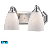 Vanity LED 14 inch Satin Nickel Bath Bar Wall Light in Snow White Glass, 2
