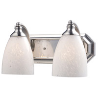 Vanity 2 Light 14 inch Satin Nickel Bath Bar Wall Light in Standard, Snow White Glass