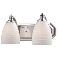 ELK 570-2N-WS Vanity 2 Light 14 inch Satin Nickel Bath Bar Wall Light in Standard, White Swirl Glass photo thumbnail