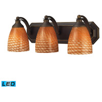 Vanity LED 20 inch Aged Bronze Bath Bar Wall Light in Cocoa Glass, 3
