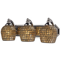 ELK 570-3C-GLD Bath and Spa 3 Light 20 inch Polished Chrome Vanity Light Wall Light in Gold Leaf Mosaic Glass, Incandescent