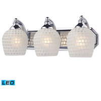ELK 570-3C-WHT-LED Bath and Spa LED 20 inch Polished Chrome Vanity Light Wall Light in White Mosaic Glass, 3