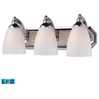 Vanity LED 20 inch Polished Chrome Bath Bar Wall Light in White Swirl Glass, 3