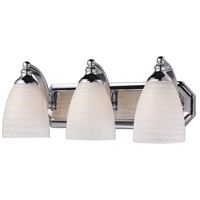 ELK 570-3C-WS Bath and Spa 3 Light 20 inch Polished Chrome Vanity Light Wall Light in White Swirl Glass, Incandescent