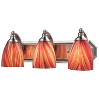 ELK 570-3N-M Bath and Spa 3 Light 20 inch Satin Nickel Vanity Light Wall Light in Multi Glass, Incandescent