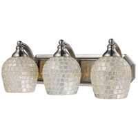 Vanity 3 Light 20 inch Satin Nickel Bath Bar Wall Light in Standard, Silver Mosaic Glass