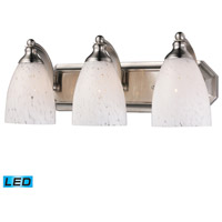 Vanity LED 20 inch Satin Nickel Bath Bar Wall Light in Snow White Glass, 3