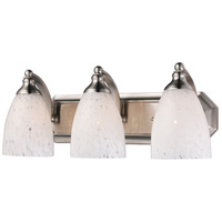 Vanity 3 Light 20 inch Satin Nickel Bath Bar Wall Light in Standard, Snow White Glass