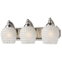 ELK 570-3N-WHT Bath and Spa 3 Light 20 inch Satin Nickel Vanity Light Wall Light in White Mosaic Glass, Incandescent