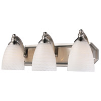 ELK 570-3N-WS Bath and Spa 3 Light 20 inch Satin Nickel Vanity Light Wall Light in White Swirl Glass, Incandescent