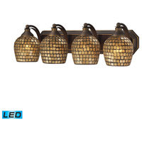 ELK 570-4B-GLD-LED Vanity LED 27 inch Aged Bronze Bath Bar Wall Light in Gold Leaf Mosaic Glass, 4 photo thumbnail