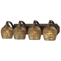 ELK 570-4B-GLD Vanity 4 Light 27 inch Aged Bronze Bath Bar Wall Light in Standard, Gold Leaf Mosaic Glass photo thumbnail
