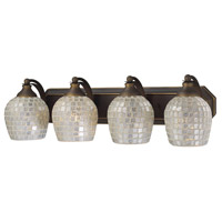 Vanity 4 Light 27 inch Aged Bronze Bath Bar Wall Light in Standard, Silver Mosaic Glass