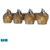 ELK 570-4C-GLD-LED Vanity LED 27 inch Polished Chrome Bath Bar Wall Light in Gold Leaf Mosaic Glass, 4 photo thumbnail