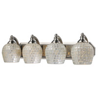 Vanity 4 Light 27 inch Satin Nickel Bath Bar Wall Light in Standard, Silver Mosaic Glass