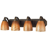 ELK 570-4B-C Vanity 4 Light 27 inch Aged Bronze Bath Bar Wall Light in Standard, Cocoa Glass photo thumbnail